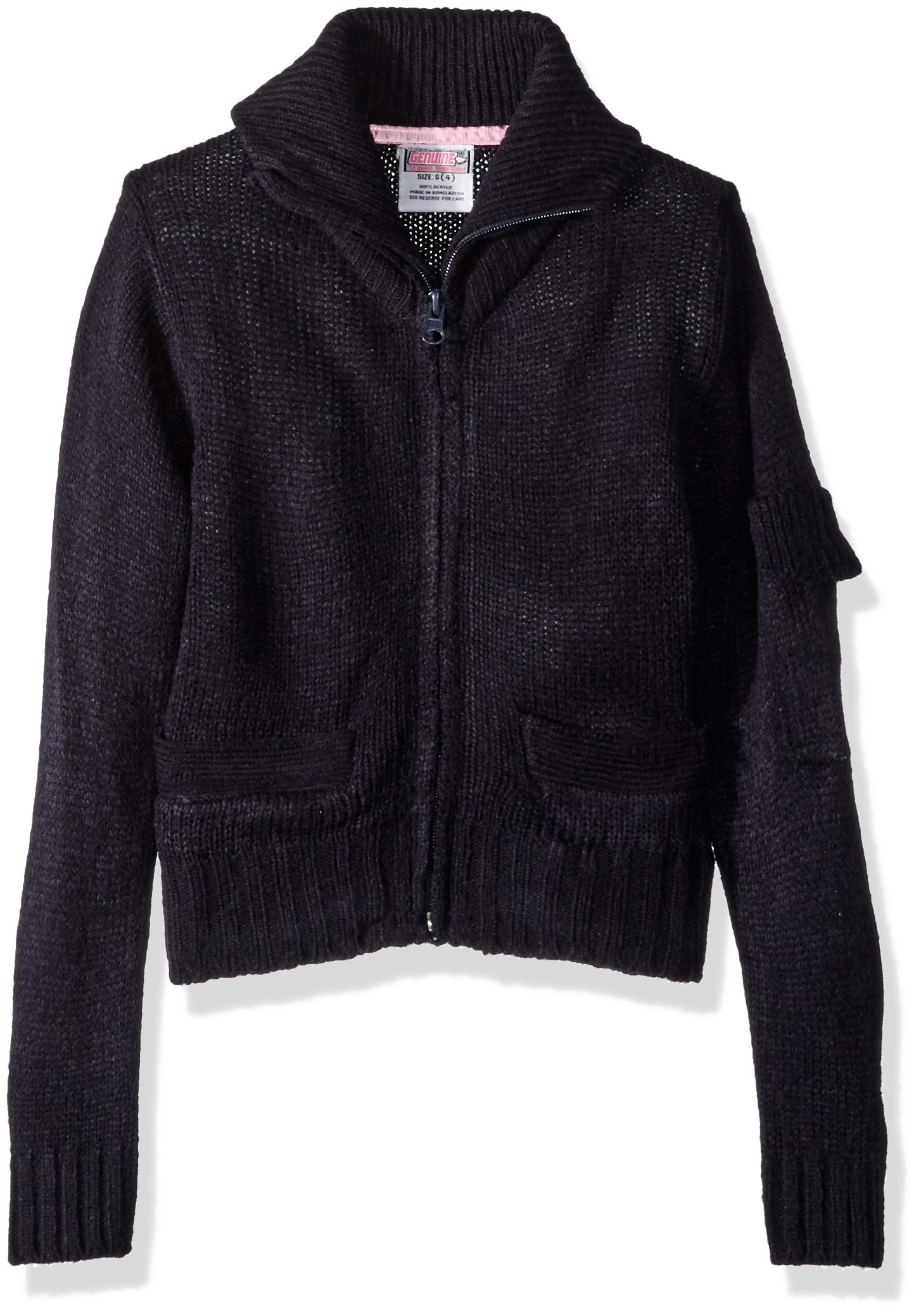 Genuine Girls' Little Zip Front Mock Neck Cardigan Sweater with Pocket on Sleeve, Navy, 6X