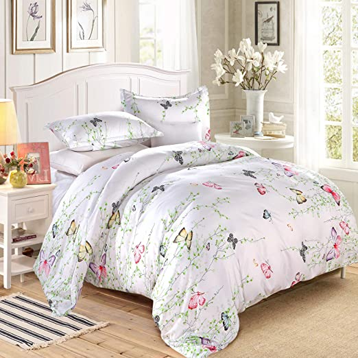 Duvet Cover with Pillow Case Bedding Set Watercolour Butterfly White Stripe Blue