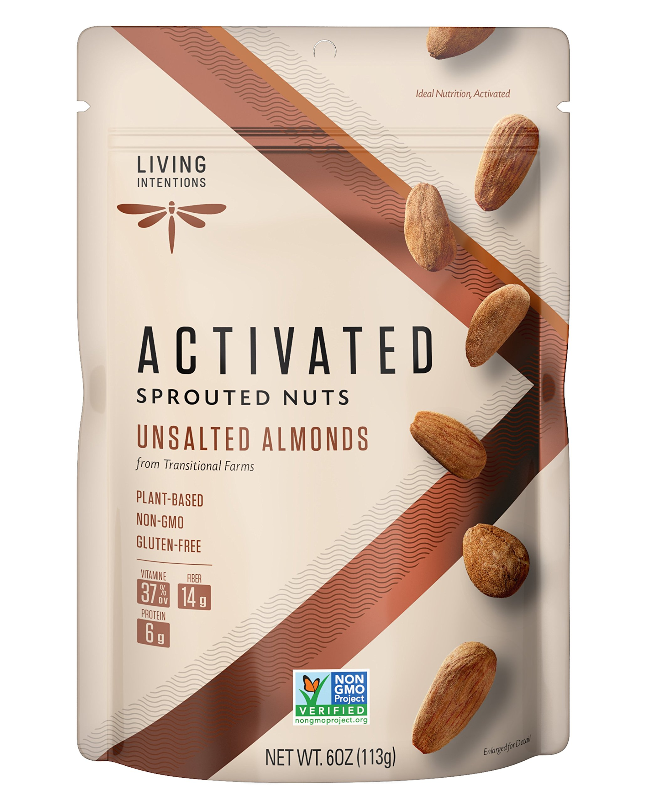 Living Intentions Activated Sprouted Nuts, Unsalted Almonds, Gluten Free, Vegan, Paleo, 6 Ounce