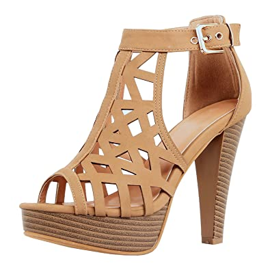 Guilty Shoes Womens Cutout Gladiator Ankle Strap Platform Fashion High Heel  Sandals Heeled Sandals, Tanv3