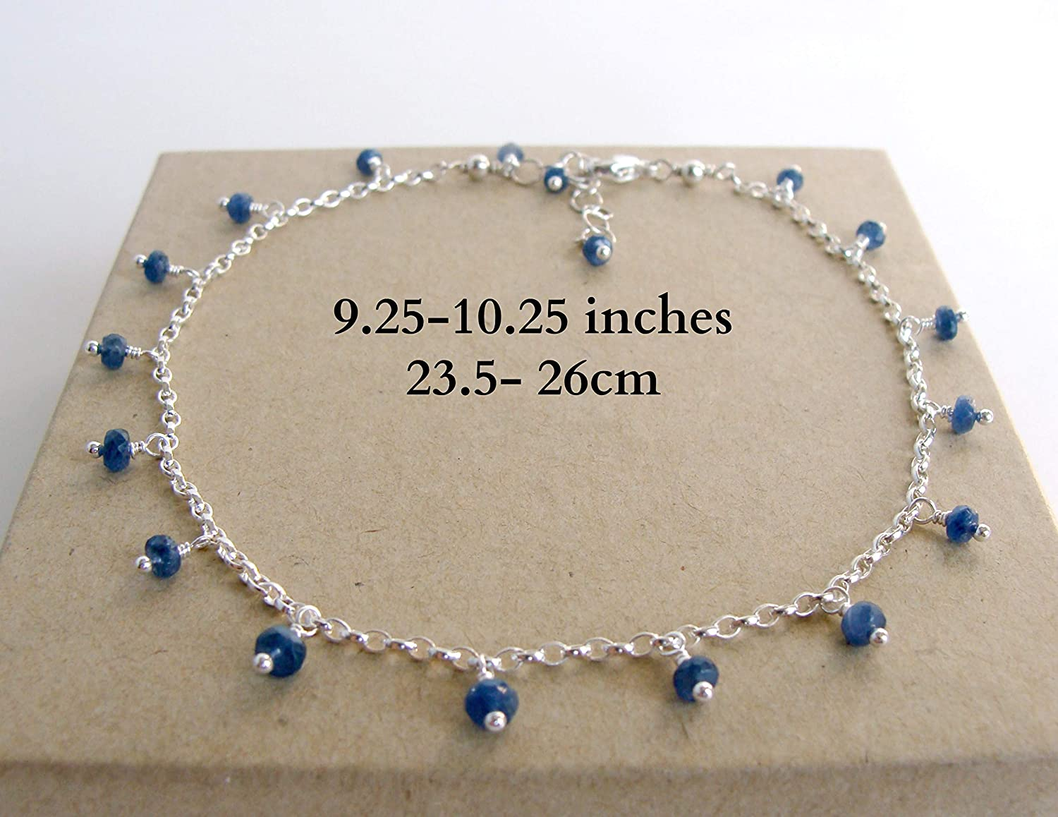 Genuine sapphire anklet blue sapphire drops on a sterling silver chain adjustable 9.25-10.25inches handmade Let Loose Jewelry