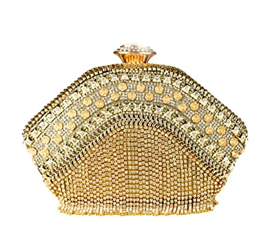 4e97f11d847b Redfox Women s Gold Sparkling Evening Clutch Bag Wedding Shiny Diamante  Crystals Rhinestones Different Shape And
