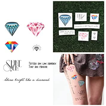 3ada279a3 Amazon.com : Tattify Diamond Themed Temporary Tattoos - Crystallized (Set  of 14 Tattoos - 2 of each Style) - Individual Style Available - Fashionable  ...