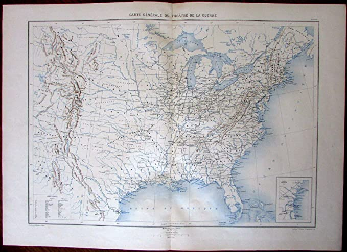 Amazon.com: General United States Map of Civil War c.1880\'s ...