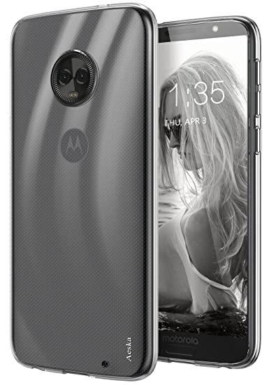 finest selection 1c592 964b2 Moto G6 Plus Case, Aeska Ultra [Slim Thin] Flexible TPU Gel Rubber Soft  Skin Silicone Protective Case Cover for Motorola Moto G6 Plus (Clear)