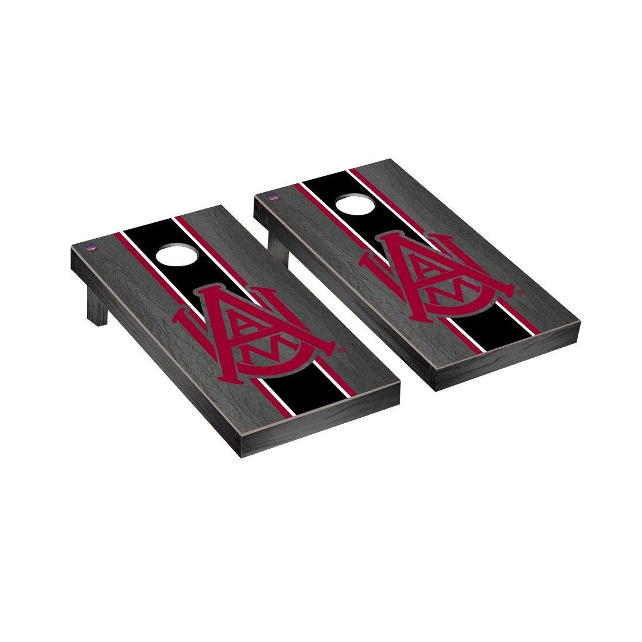 Victory Tailgate Regulation Collegiate NCAA Onyx Stained Stripe Series Cornhole Board Set - 2 Boards, 8 Bags - Alabama A&M Bulldogs