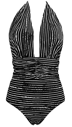 de04c5500a92e COCOSHIP White & Black Striped Balancing Act One Piece Draped Halterneck  Backless Bather Swimsuit Tiered Waist Swimwear Beachwear 4 at Amazon Women's  ...