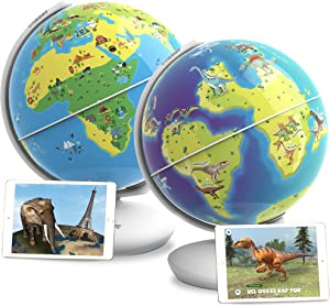 Orboot by PlayShifu - Earth and World of Dinosaurs (app Based) Set of 2 Interactive AR Globes for STEM Learning at Home