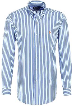 Ralph Lauren Camisa de hombre, Blue/White, Naranja Pony, Striped ...