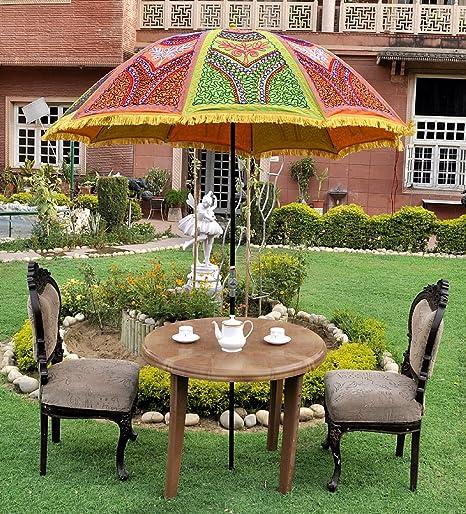 Lalhaveli Indian Decorativo para jardín Paraguas al Aire Libre para sombrilla Grande 133 x 183 cm: Amazon.es: Hogar