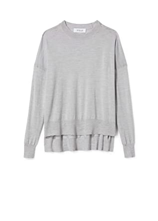Image Unavailable. Image not available for. Color  Derek Lam 10 Crosby Women s  Long Sleeve Boxy Crewneck Silk Wool Knit Sweater a047fbddf