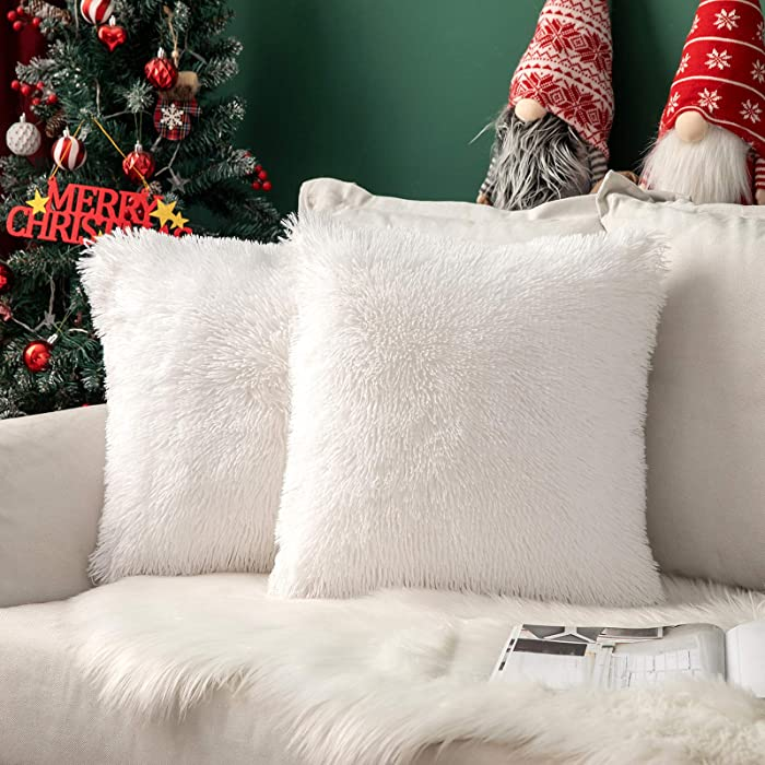 MIULEE Pack of 2 Christmas Decoration Luxury Faux Fur Throw Pillow Cover Deluxe Decorative Plush Pillow Case Cushion Cover Shell for Sofa Bedroom Car 18 x 18 Inch White