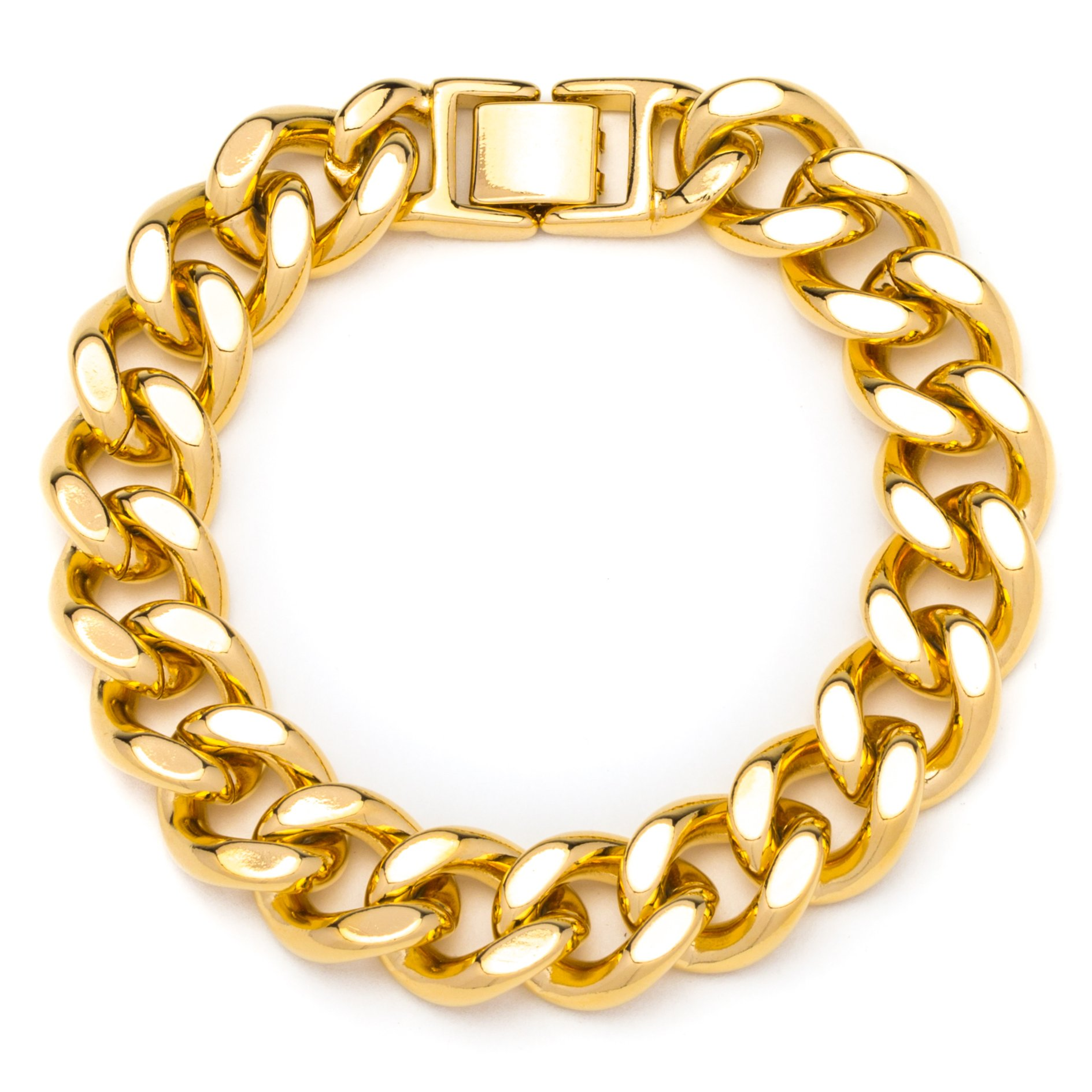 Lifetime Jewelry Thick Cuban Link Bracelet 15MM, Round, 24K Gold Over Semi-Precious Metals, Premium Fashion Jewelry, 9 Inches