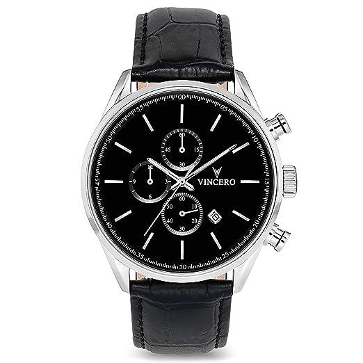 Reloj de Pulsera Chrono S de Lujo para Caballeros Vincero – Reloj Negro/Plateado con