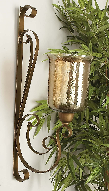 30 H 30 H UMA Enterprises Inc. Deco 79 23818 Metal Glass Wall Candle Sconce 13 W