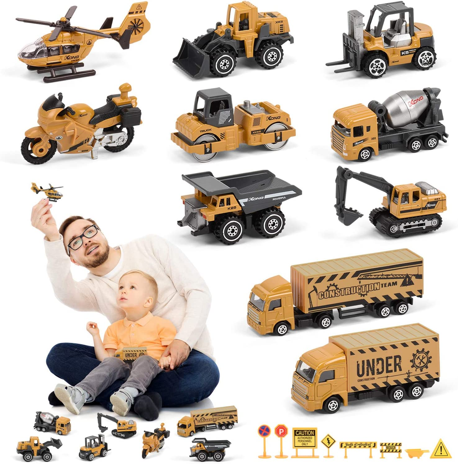 Small Construction Vehicle Toys, 10 Diecast Construction Vehicles for Kids with 8 Road Sign, Excavator Digger Bulldozer Dump Helicopter Motorcycle Toy Construction Trucks for Boys Toddlers Gifts