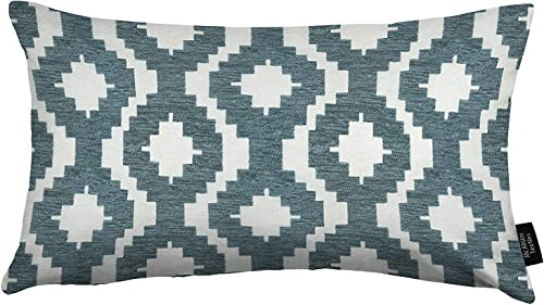 McAlister Textiles Arizona Wedgewood Blue 24×16 Inches Filled Pillow, Tribal Abstract Chenille Decorative Decor Throw Couch Cushion Cover for Bedroom Sofa Living Room Sham Dimensions, 60x40cm