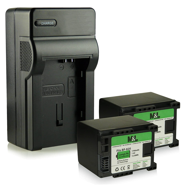 HF-S1400 - 2x Batteria BP-819 // BP-820 per Canon Camcorder HF-G30 HF-M30 HF-M300 XA25 HF-M31 HF-G25 LEGRIA HF-G10 HF-G30 HF-M41 3in1 Caricabatteria HF-M400 HF-S10 HF-G20 XA20 Li-io HF-M32 Bundle HF-M40 HF-M301 HF-S11