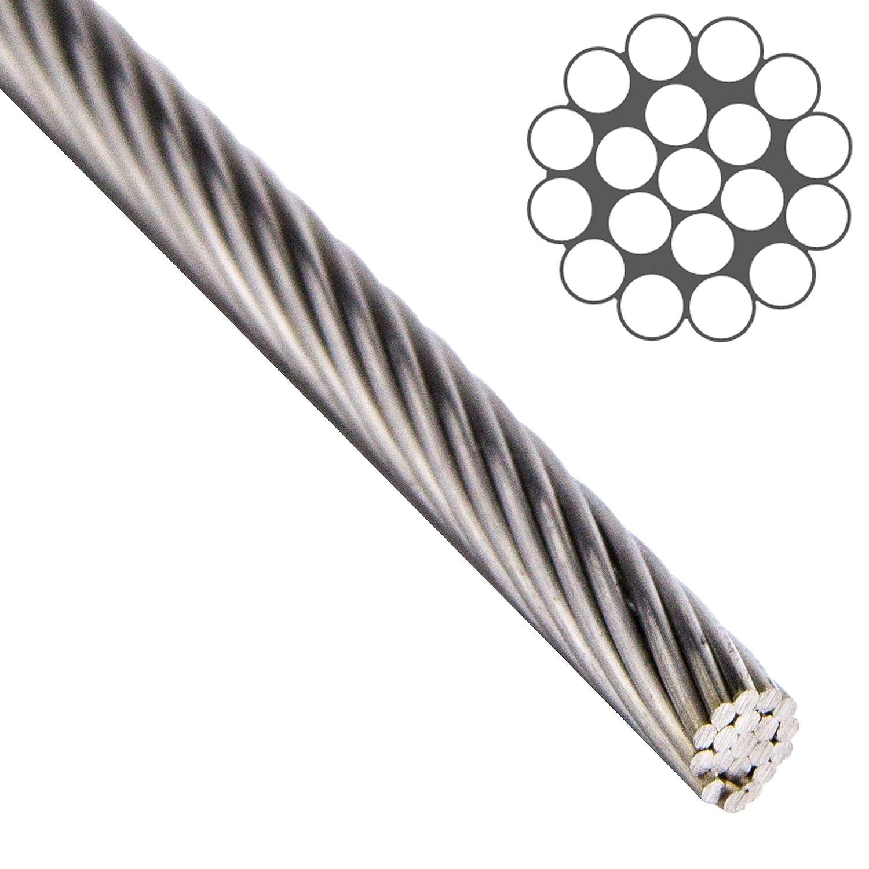 OPIOL QUALITY Fune metallica 1x19 dura, acciaio inox A4 (10 metri), fune in acciaio inox, fune in acciaio inox