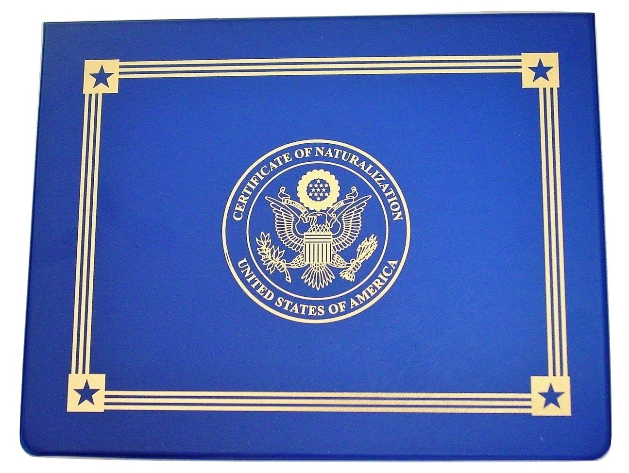 U.S. Naturalization Certificate Holder, United States Citizenship Certificate Hard Folder''Finest Finish'' Gold American Eagle Logo 'Certificate of Citizenship', United States