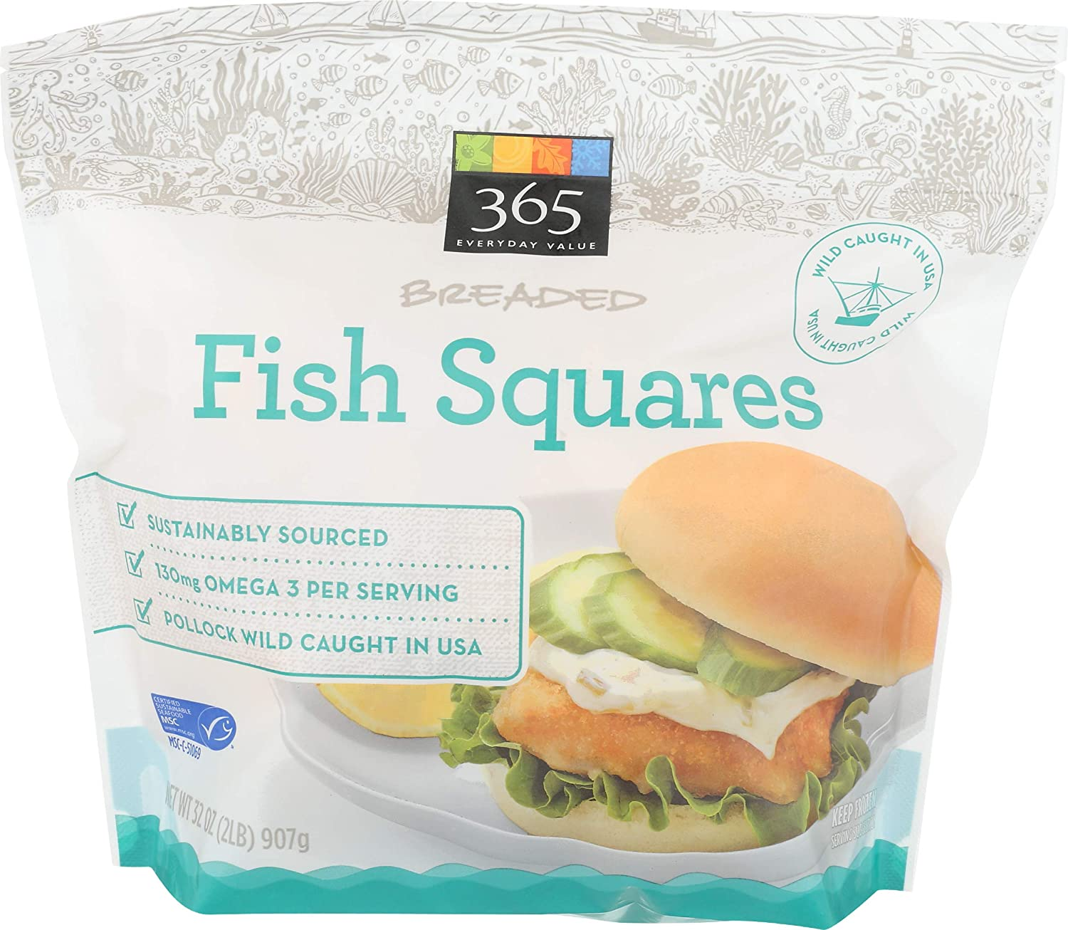 365 Everyday Value, Wild-Caught Breaded Fish Squares (Frozen), 32 oz