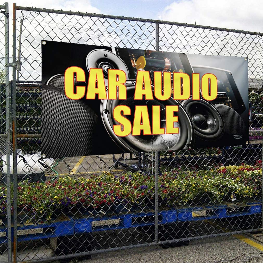 Set of 2 Vinyl Banner Sign Car Audio Installed #2 Automotive Outdoor Marketing Advertising Black 32inx80in Multiple Sizes Available 6 Grommets