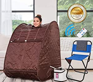 Himimi 2L Foldable Steam Sauna Portable Indoor Home Spa Weight Loss Detox with Chair Remote (Coffee)