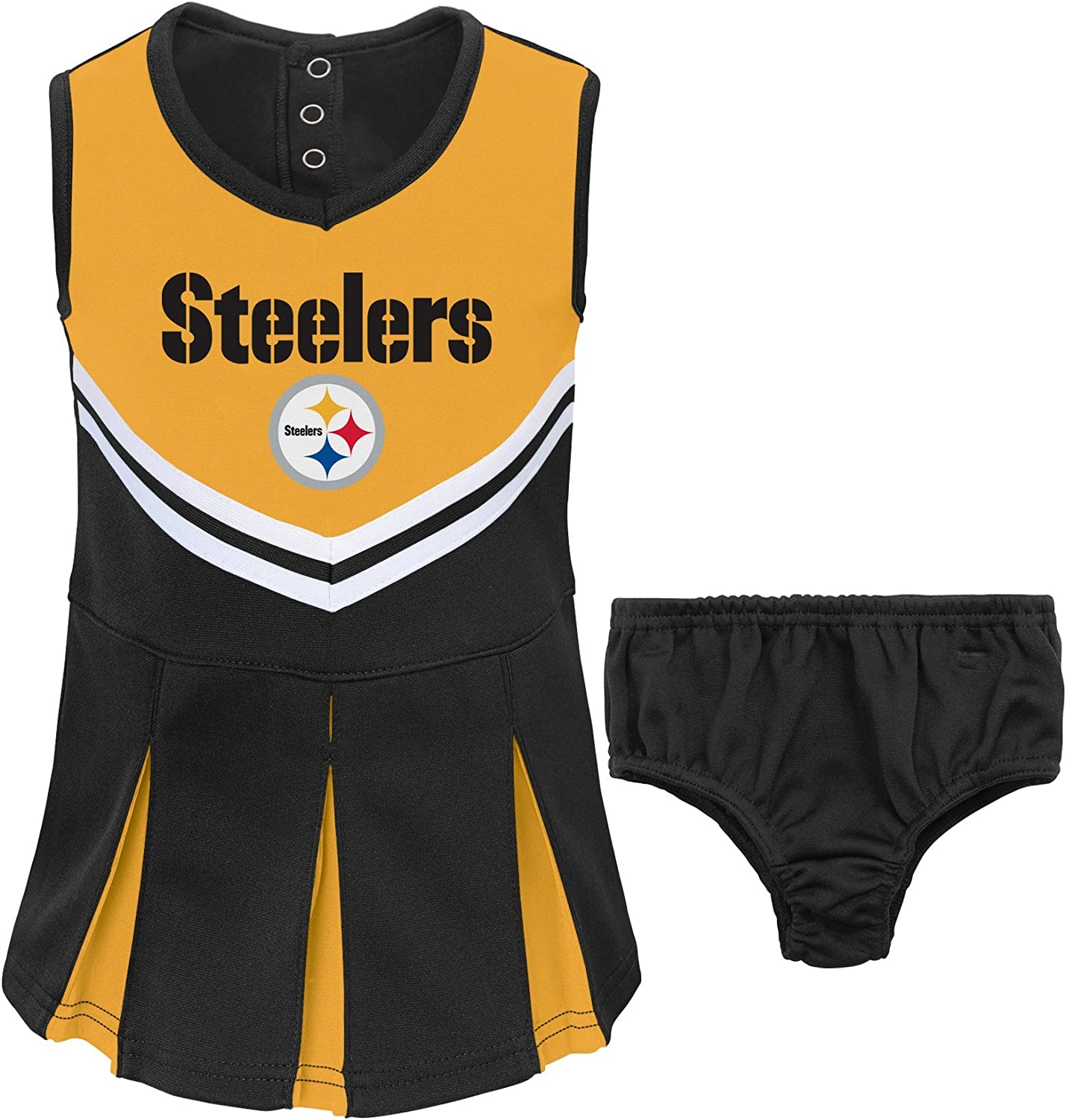 Size 2T Toddler Girls Pittsburgh Steelers 2-Pc Cheerleader Set NFL Team Apparel