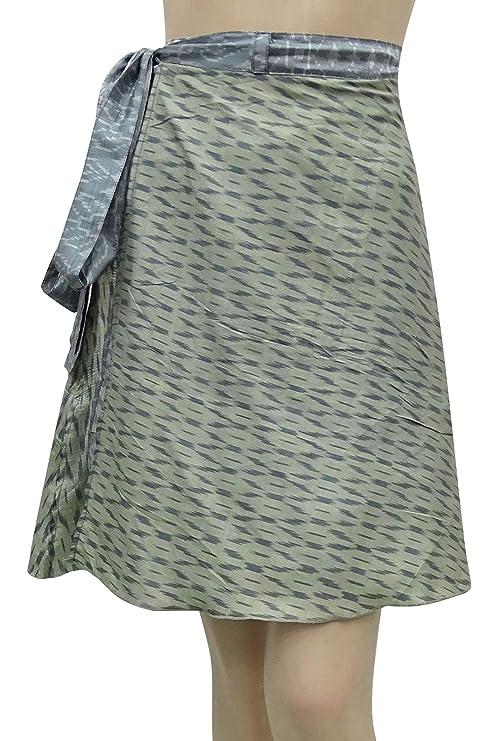 Indianbeautifulart la Falda del Vestido de Seda Puro de Plata ...