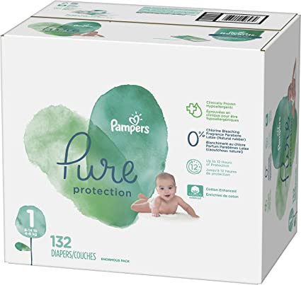 - Pampers Pure Protection Disposable Baby Driapers Diapers Size Newborn 31 Count Jumbo Pack 8-14 lb