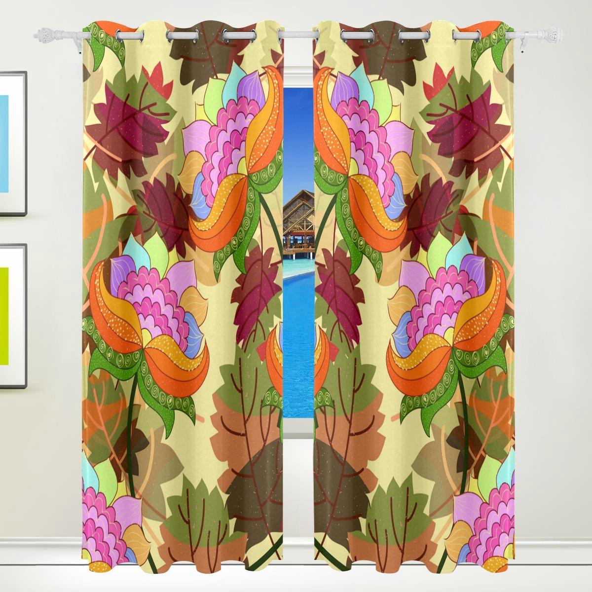Vantaso Light Shading Window Curtains Abstract Flowers With Leaves Polyester 2 Pannels for Kids Girls Boys Bedroom Living Room 84 inch x 55 inch