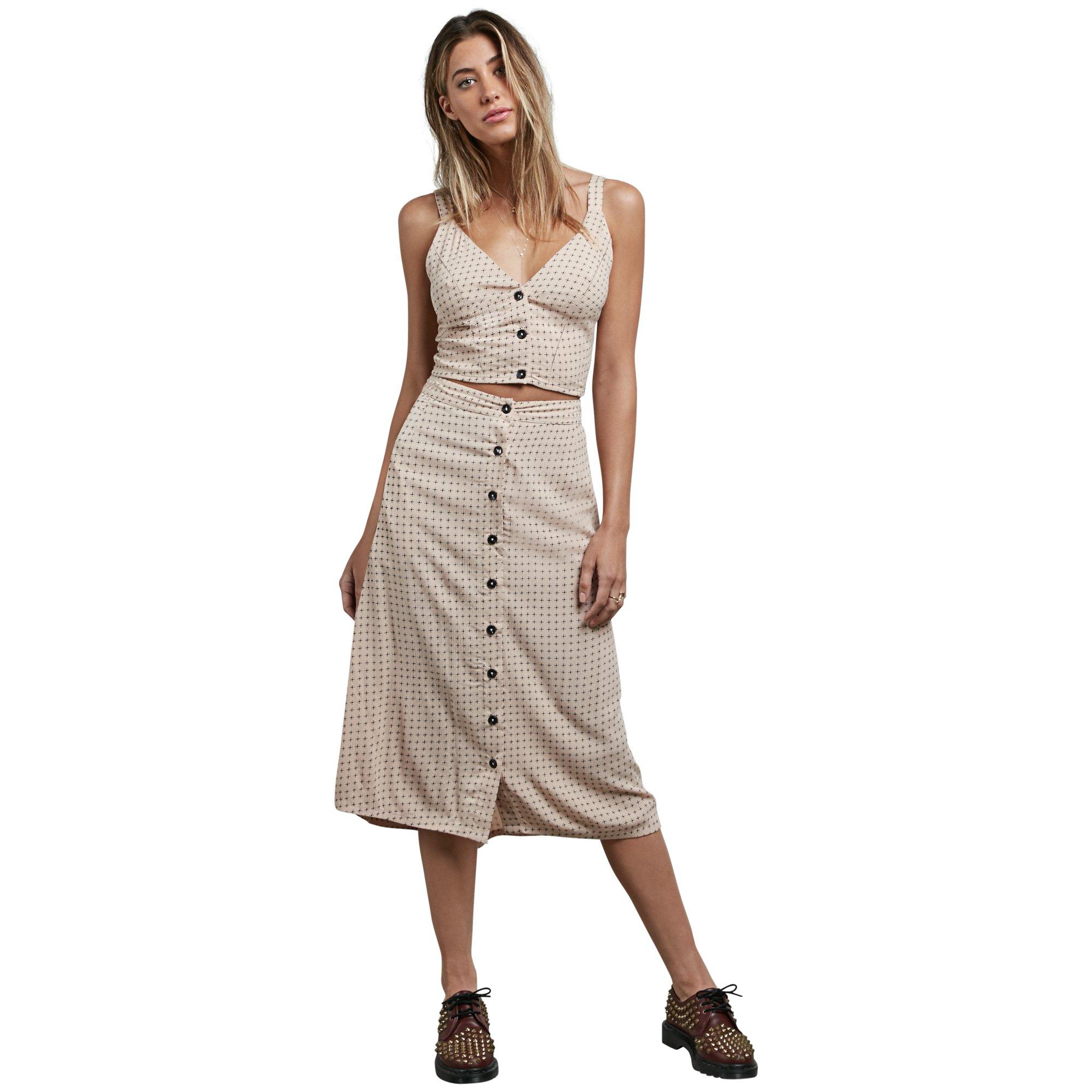 Volcom Junior's Get to Steppin Midi Length Front Button Skirt, Mushroom, L
