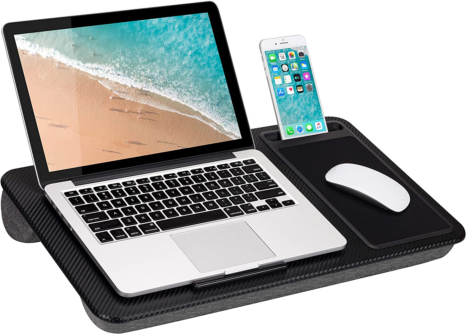 LapGear Home Office Lap Desk with Device Ledge, Mouse Pad, and Phone Holder - Black Carbon - Fits Up to 15.6 Inch Laptops - Style No. 91588