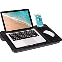 LapGear Home Office Lap Desk with Device Ledge, Mouse Pad, and Phone Holder - Black Carbon - Fits Up to 15.6 Inch…