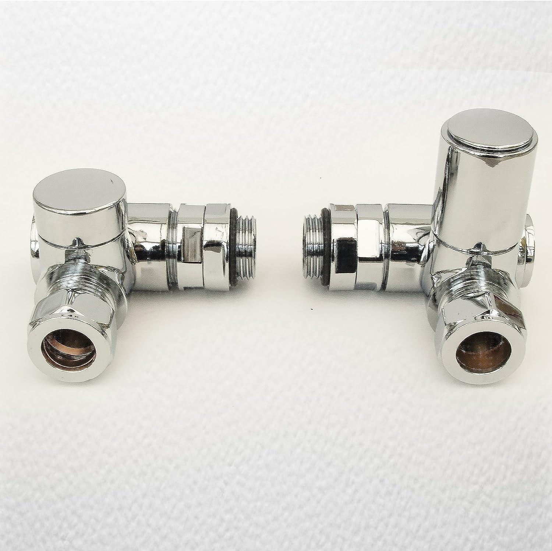 "Chrome Corner Towel Rail Radiator Rad Valves Angled Pair Solid Brass 15mm X 1//2/"""