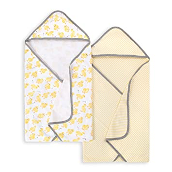 Little Ducks, 2-Pack Burts Bees Baby Absorbent Knit Terry Hooded Towels 100/% Organic Cotton Super Soft Single Ply
