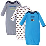 Hudson Baby Unisex Baby Cotton Gowns, Hedgehog 3-Pack, 0-6 Months