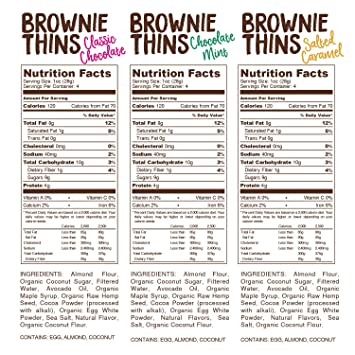Lillabee Brownie Thins Variety Pack, Paleo Friendly, Gluten Free, Low Carb,  Healthy Snacks, High Protein,