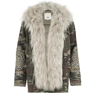 f97fc108248 River Island Camo Print Coat Jacket Detatchable Fur Size 6 - 18 RRP £70  (8)  Amazon.co.uk  Clothing