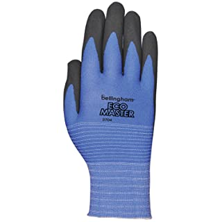"""LFS ECO Master C3704S PPU Water-Based Polyurethane Coated """"Outperforms Nitrile"""" Work Gloves, Small, Blue Knit with Black Coating"""