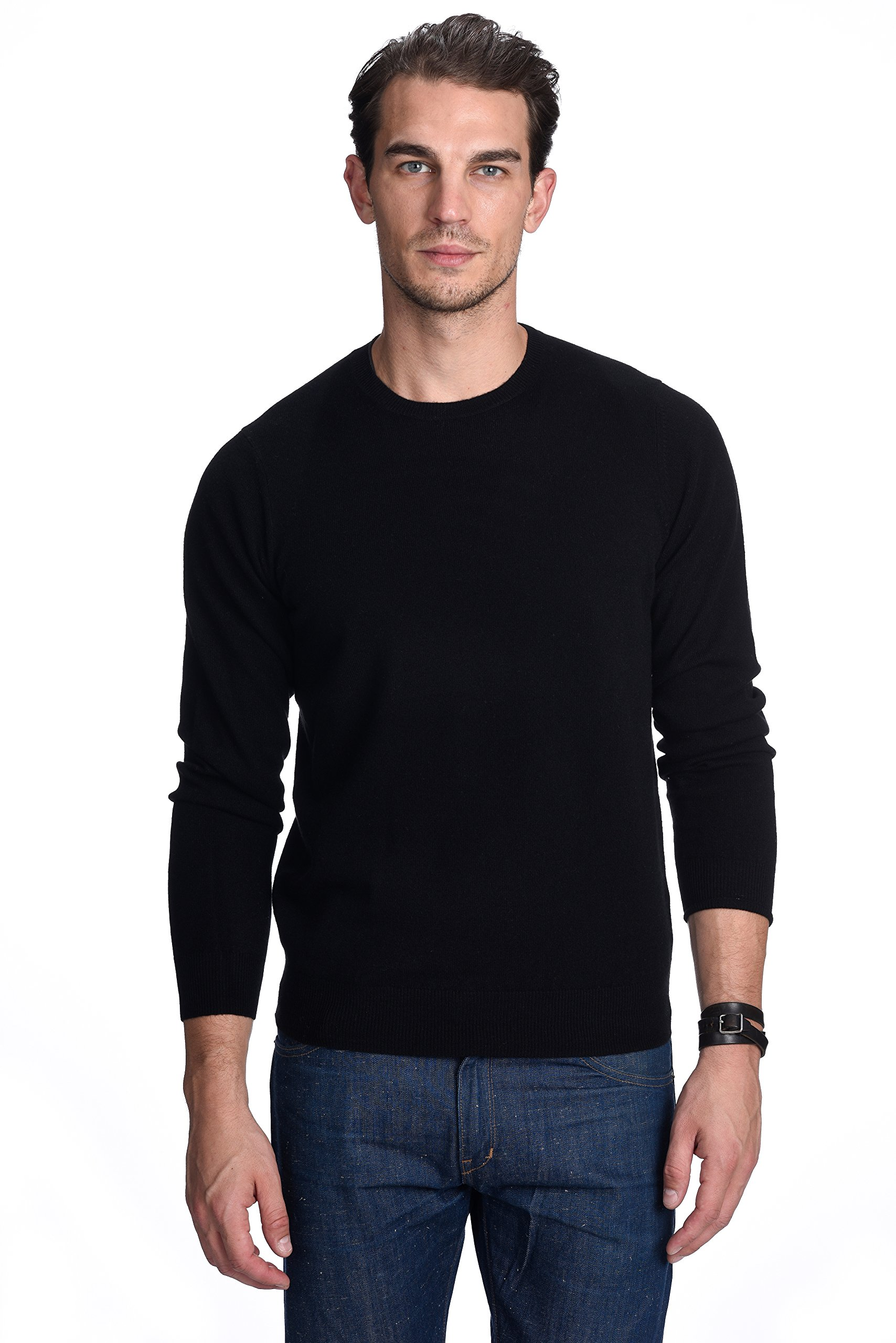 State Cashmere Men's 100% Pure Cashmere Long Sleeve Pullover Crew Neck Sweater (Medium, Black)