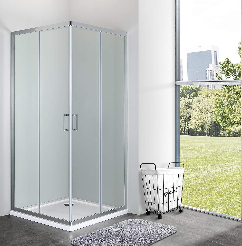 mampara de ducha Cuadrado angular deslizante h190 Cristal Templado Transparente 6 mm, transparente: Amazon.es: Bricolaje y herramientas