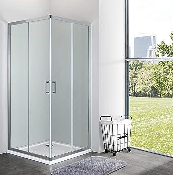 mampara de ducha Cuadrado angular deslizante h190 Cristal Templado ...