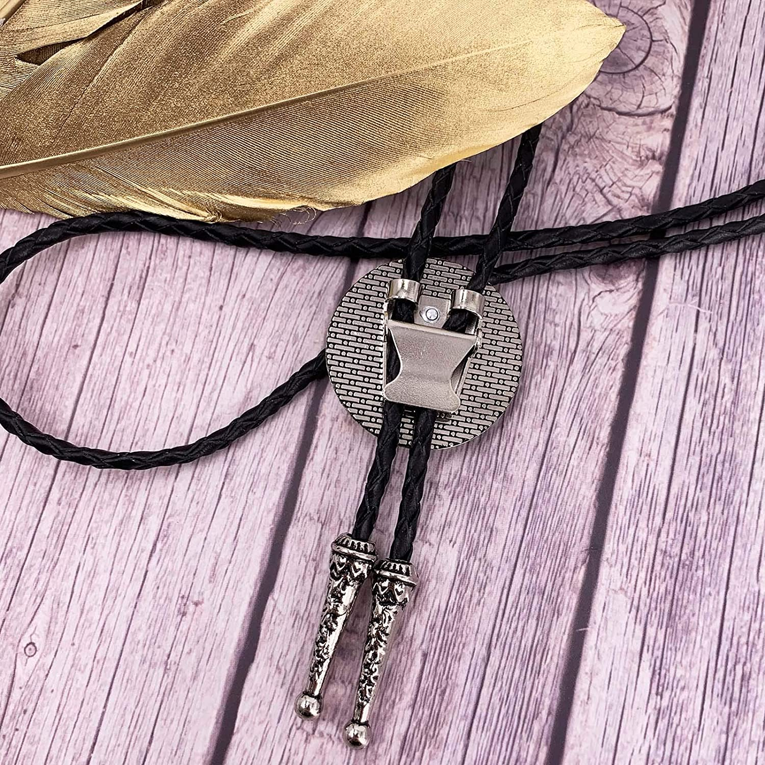 XGALABA Vintage Western Cowboy Black Stone Celtic circle Bolo tie For Men