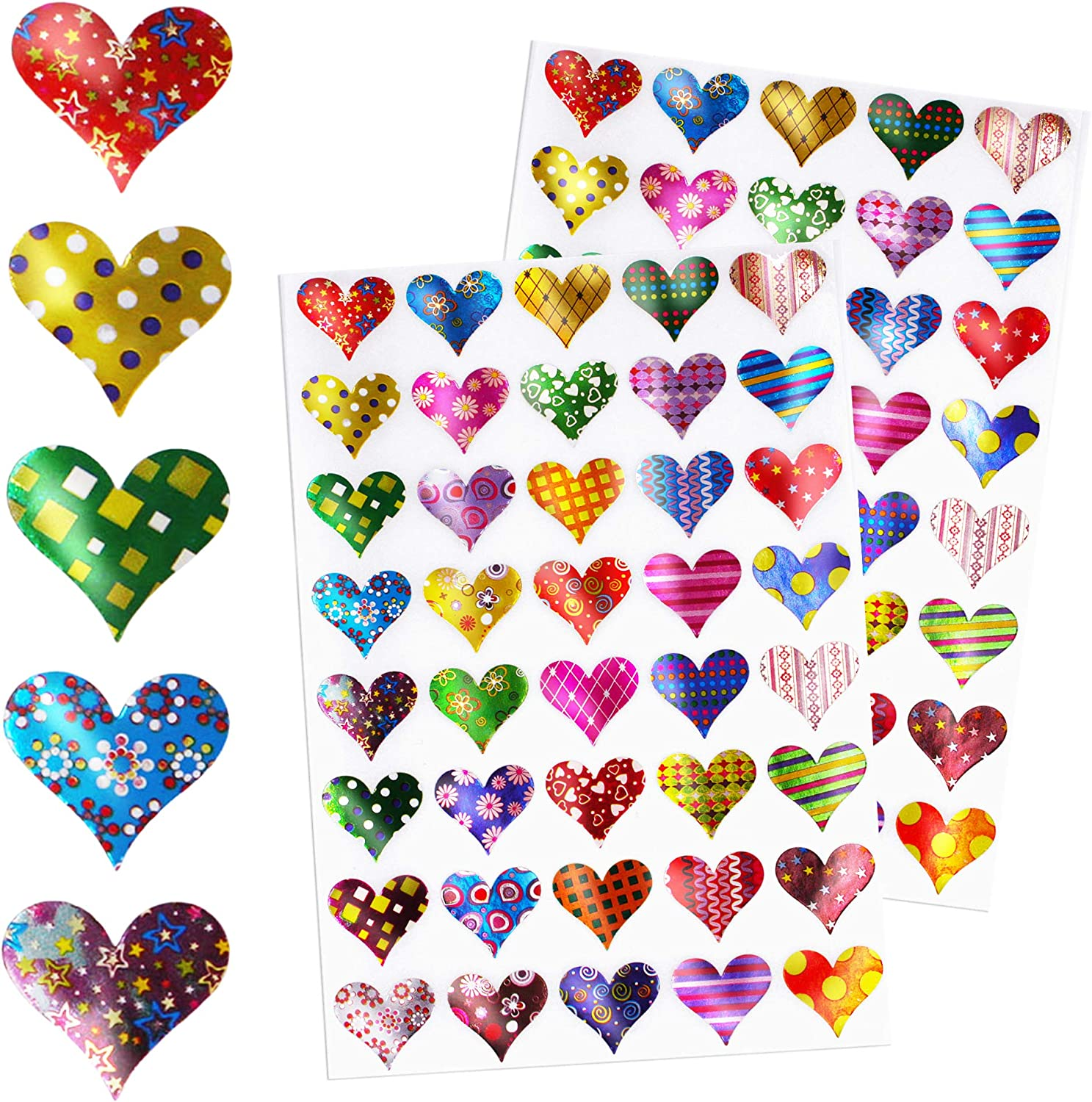 Assorted Silver Hearts 8mm to 12mm Peel Off Stickers Card Making Craft Valentine