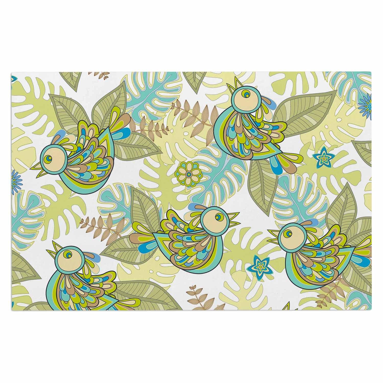 2 x 3 Floor Mat Kess InHouse Julia Grifol Summer Birds Green Lime Decorative Door