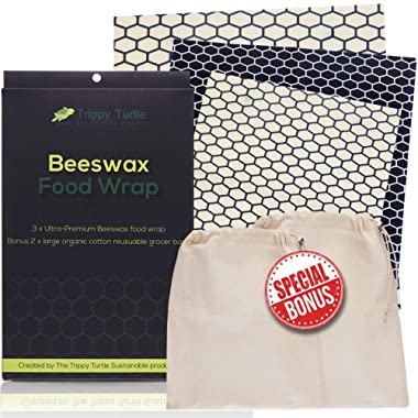 Beeswax Wrap - (Premium 5 Pack) Includes 3 Wraps & Bonus 2 Large Organic Cotton Produce Bags | Sustainable Reusable Food Wrap | Washable Biodegradable Chemical & Plastic Free By The Trippy Turtle