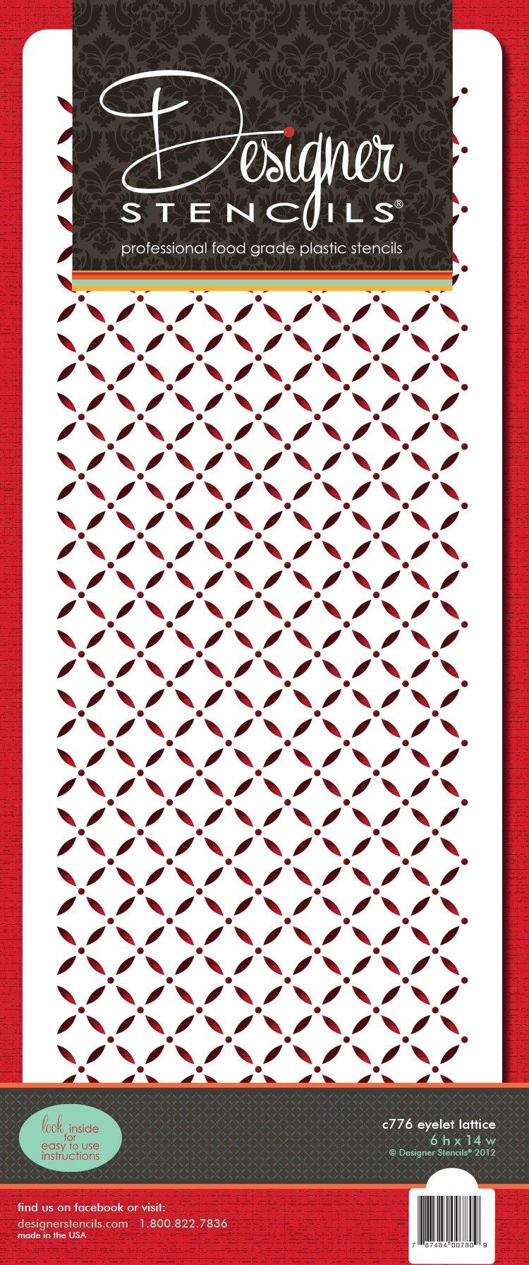 Designer Stencils C776 Eyelet Lattice Cake Stencil, Beige/semi-transparent by Designer Stencils (Image #2)