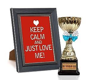 Tied Ribbons 'Valentine's Day' Photo Frame with Trophy (Wood, 25.4 cm x 1.27 cm x 34.29 cm, Black, TR-VL17-FrameTrophy008)