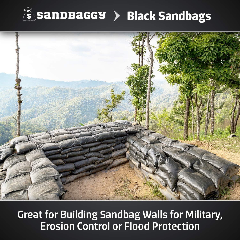 Size: 14 x 26 20 Bags Sandbaggy Black Color Sandbags Flooding Sand Bag Empty Poly Bags W// 4000 HR UV Protection